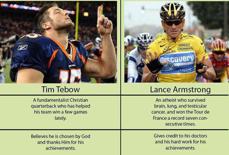 From the Atheist Nexus. Lance vs Tebow. Might get some hate mail from this one.