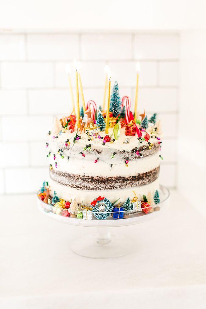 Holiday explosion cake