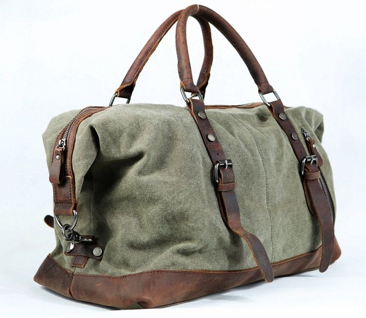 Vintage Retro Men Genunie Leather Canvas Duffle Weekend Bag Lightweight Luggage | eBay