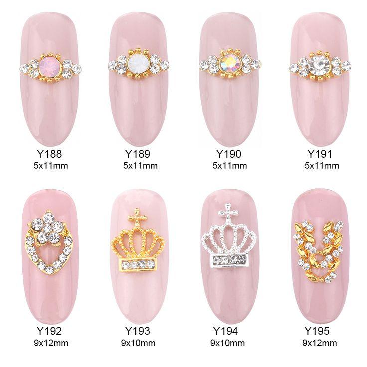 10pcs  Opal stone tiara nail stones for nails pearl decoration gold ring nail art 3d metal supplies Y188~195