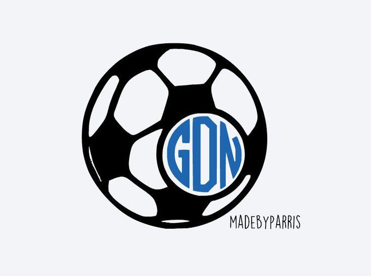 Soccer Ball Monogram Vinyl Decal, Monogram Decal, Soccer Decal, Soccer Mom, Car Decal, Yeti Decal, Soc… | Soccer vinyl decal, Monogram vinyl decal, Silhouette vinyl