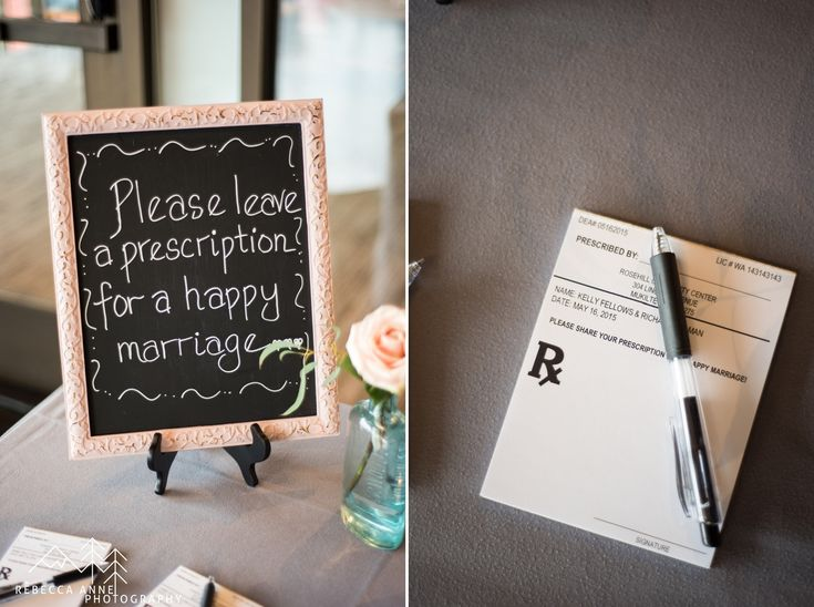 Richard & Kelley's Rosehill Community Center Wedding with a medical theme full of vintage books and prescription pads.  They are both becoming doctors and thought the theme was fitting!  Photographed by local Seattle Wedding Photographer, Rebecca Anne Photography.