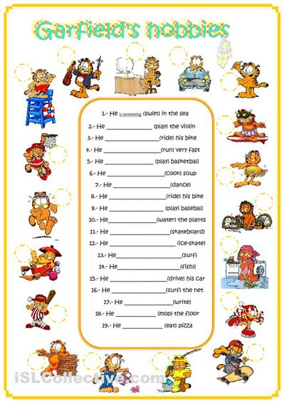 Garfield's hobbies! Fun ESL worksheet for vocab and great for present continuous too.