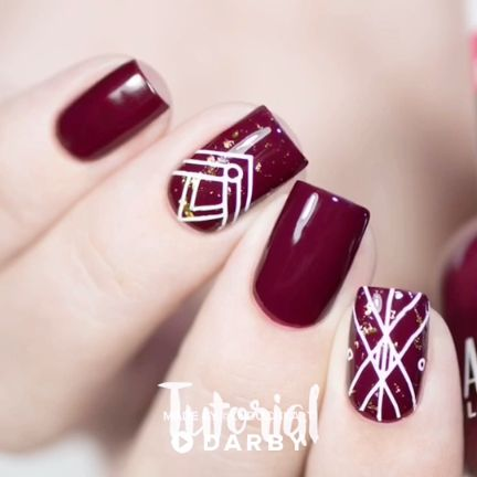 Nail Art Using Gold Flakes and Stamping #darbysmart #beautytips #beautyhacks #be…