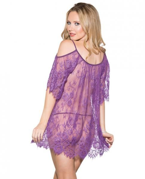 Flowered Lace Babydoll Purple Small on naughtycandyz