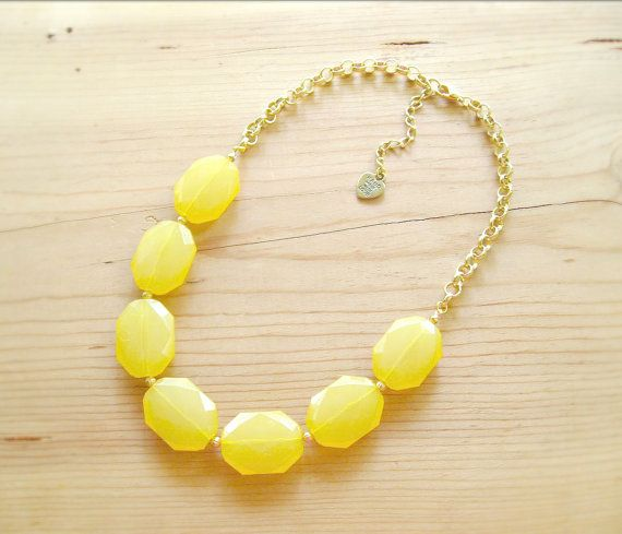 Yellow Statement Necklace Big Yellow single by ThatsmineBoutique, $32.00
