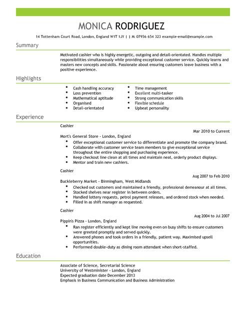 Image result for cashier curriculum vitae template
