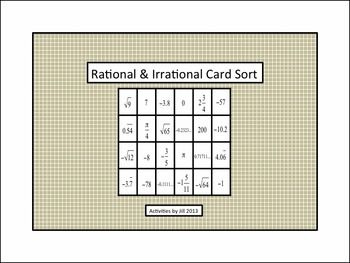 Use this handy foldable and card sort for teaching students about real numbers.  Notes and examples for natural numbers, whole numbers, integers, rational numbers, irrational numbers, and real numbers are included on the foldable. Follow up with the self-checking card sort which focuses on sorting numbers according to whether they are rational or irrational.  8.NS.1