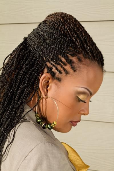 protective style - micro kinky twists done with marley hair