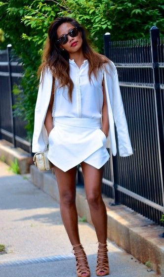 Loving this all white ensemble and coveting the Zara skort.