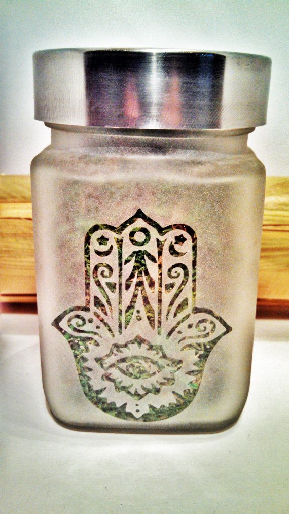 Hand of Fatima Etched Glass Stash Jar by Twisted420Glass on Etsy
