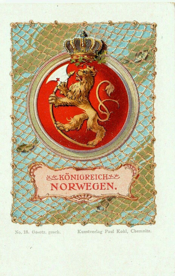 Kongeriket Norge riksvåpen Köningsreich Norwegen Utg Kunstverlag Paul Kohl, Chemnitz