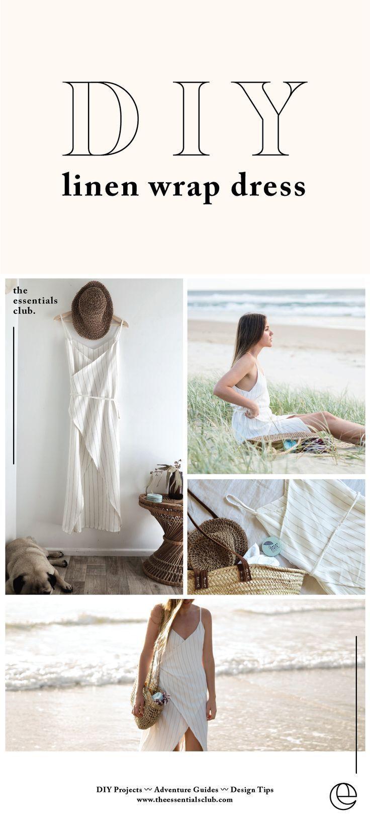 DIY Linen Wrap Dress Tutorial – The Essentials Clu… – #Clu #DIY #dress #essent… – Isla