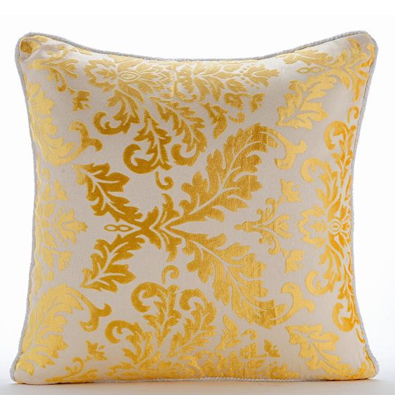 "Mimosa Yellow Damask - 16""X16"" Burnout Velvet Mimosa Yellow Pillow Cases"