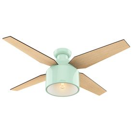 Hunter Cranbrook 52-In Mint Green Flush Mount Indoor Ceiling Fan With