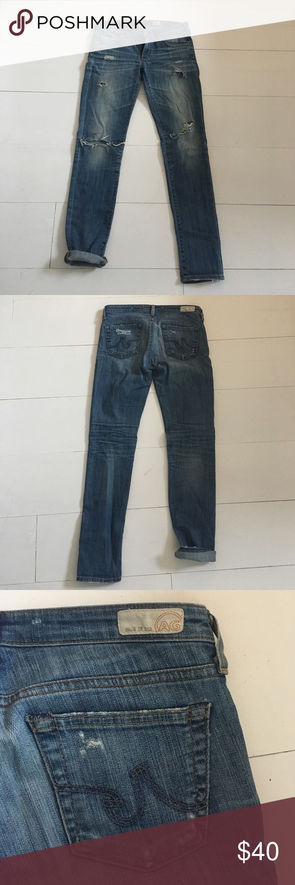 AG Stilt cigarette jeans Distressed AG five pocket jeans. Skinny AG Adriano Goldschmied Jeans Skinny