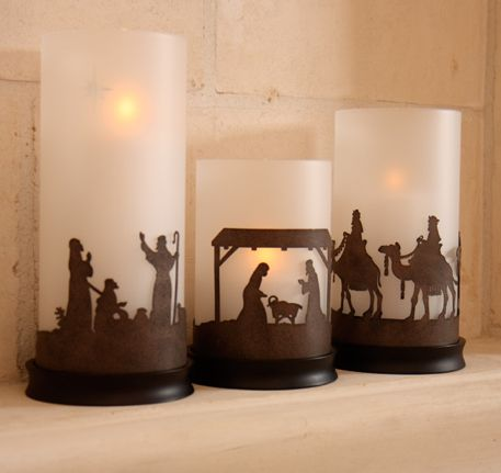 DIY Nativity Scenes: Silhouette or Cut-outs. Placed against Candle Holders. AMAZING!