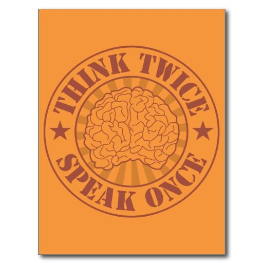 Think twice, speak once postcards