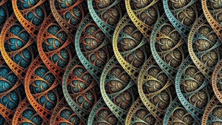 blue, orange, and yellow wallpaper abstract fractal