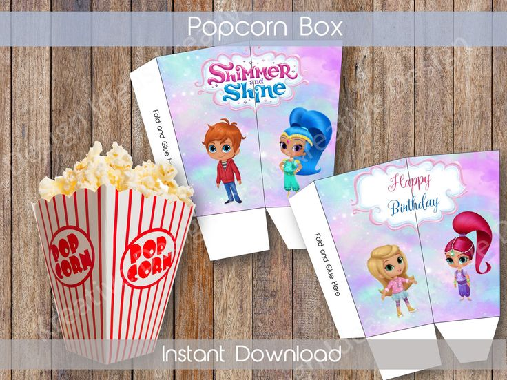 Shimmer and Shine Popcorn Box Printable Shimmer and Shine Popcorn Box Shimmer and Shine Birthday Theme Simmer and Shine INSTANT DOWNLOAD by KreativeDesignIdeas on Etsy