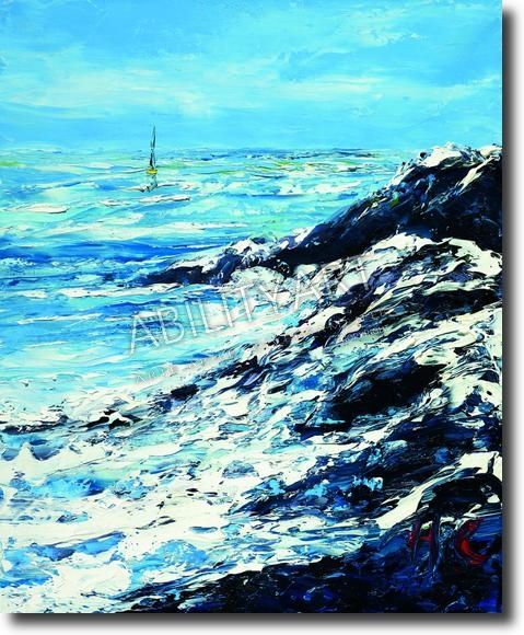 """Henri-Clairy Hembert è originario della Francia. Ha creato l'opera """"Costa rocciosa tra le onde dal mare"""", dipinta con l'utilizzo esclusivo del piede. La tecnica utilizzata è quella a olio; il formato originale è 61x50 cm."""