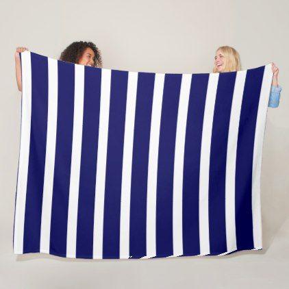 WIde stripes navy blue and white Fleece Blanket - chic design idea diy elegant beautiful stylish modern exclusive trendy