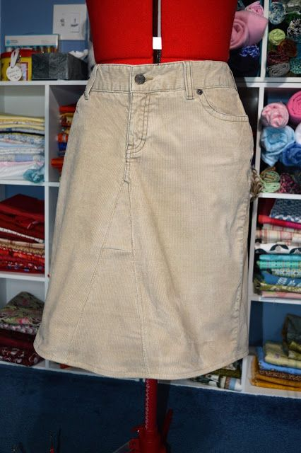 Pants to Skirt Refashion... clever trick for making the centre seam of the…