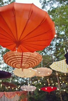 Sky umbrellas  Party Ideas - Diwali, Indian, Bollywood - flowers, decoration, decor, food, Deepavali, HIndu festival, India, Holi