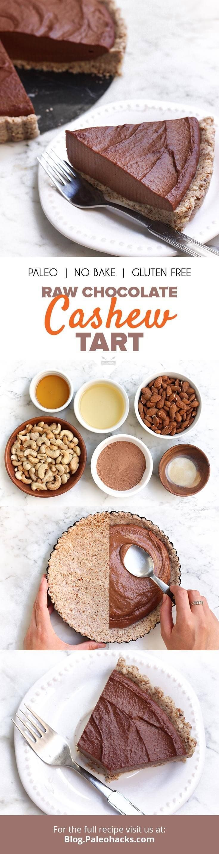 This Raw Chocolate Cashew Tart has a crunchy almond crust with a rich, creamy cashew-chocolate filling. Get the recipe here: http://paleo.co/rawchoctart
