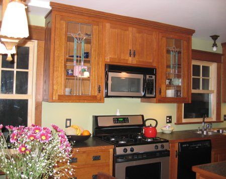 Craftsman Style Kitchen Cabinets | Oak Cabinets In Craftsman Style With  Stained Glass Doors Fit The