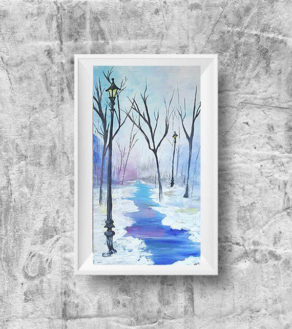 Winter Decoration Canvas Wall Art Winter Scene Tree Wall Decor Bohemian Painting Abstract Original Painted Wall Bohemian Painting Texture Art Canvas Art