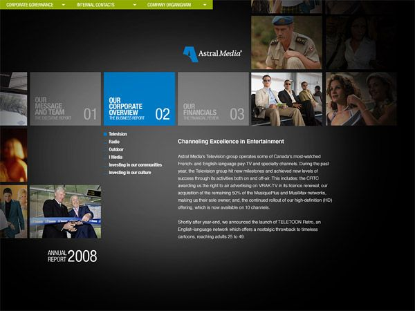 Annual Report 08 (Astral Media) // Pitch designs by Alexandre Desjardins, via Behance