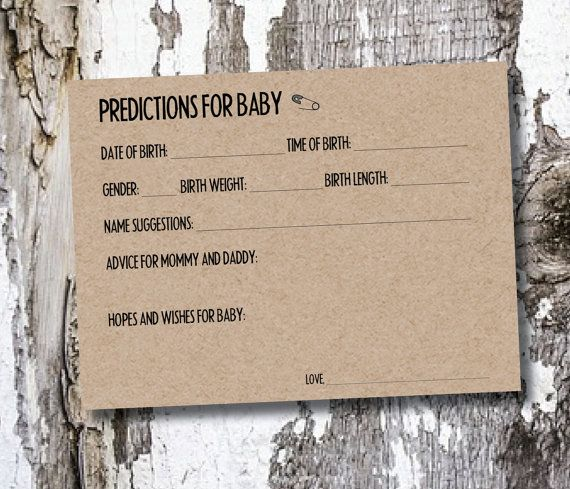 DIGITAL: Baby Prediction Cards - Baby Shower
