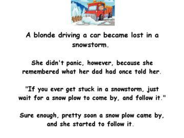 A blonde gets lost in a snowstorm - funny clean blonde joke of the day