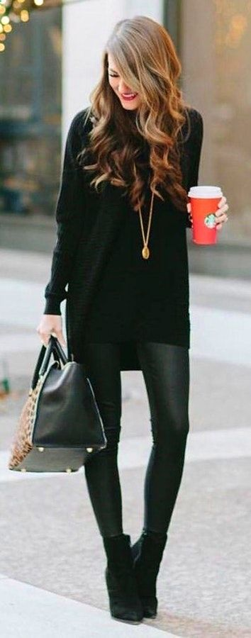 #winter #outfits  black long sleeve turtle neck sweater; black Jeggings; pair ofblackwedges