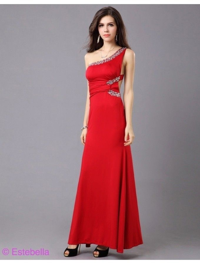 Stunning evening dress with elegant glittering rhinestone shoulder girdle! Beautiful neckline with oblique grant, the amazing insights can be! With decorative gem on the waist! Exceptional comfort and perfect fit!