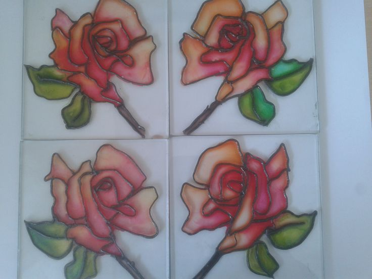 Stain glass coasters Roses