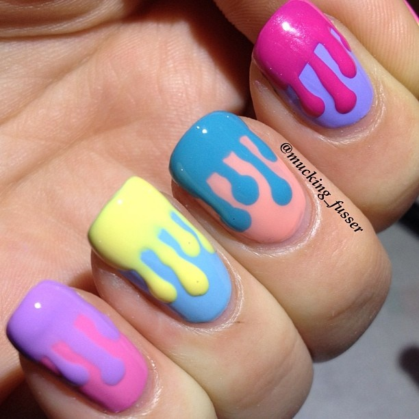 Drip pastel nails by mucking_fusser