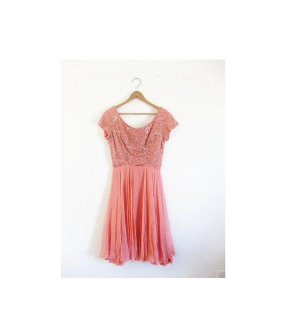 1940s1950s BEADED party chiffon salmon dress by croatiavintage, $72.00