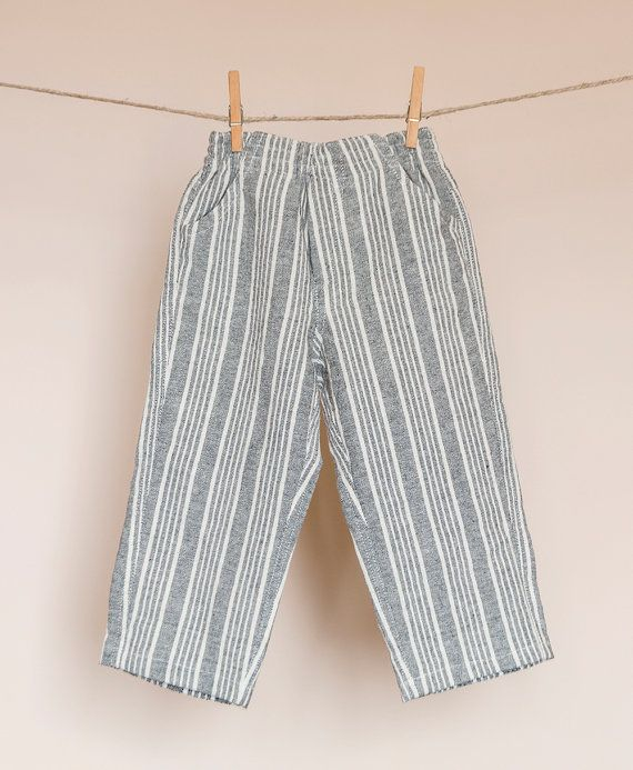 Boys' striped linen cotton pants with pockets by TheElfShopDesigns