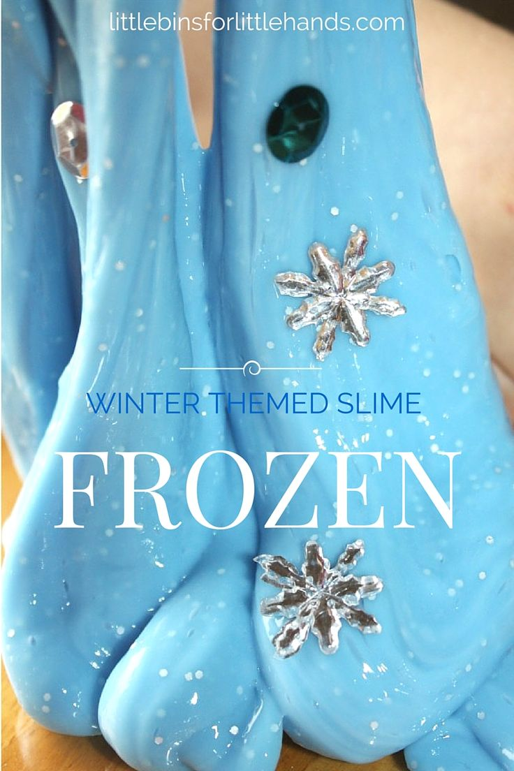 Winter and Frozen theme inspired slime! Easy slime recipe makes the perfect Frozen slime. Slime is science and tactile sensory play that is easy to make with our liquid starch slime recipe.