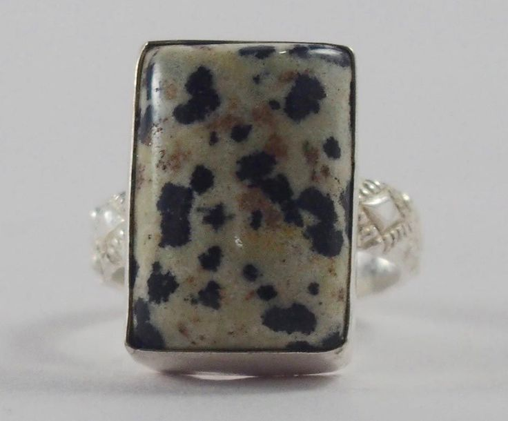 Handmade Silver Plated Ring with Dalmatian Jasper Stone