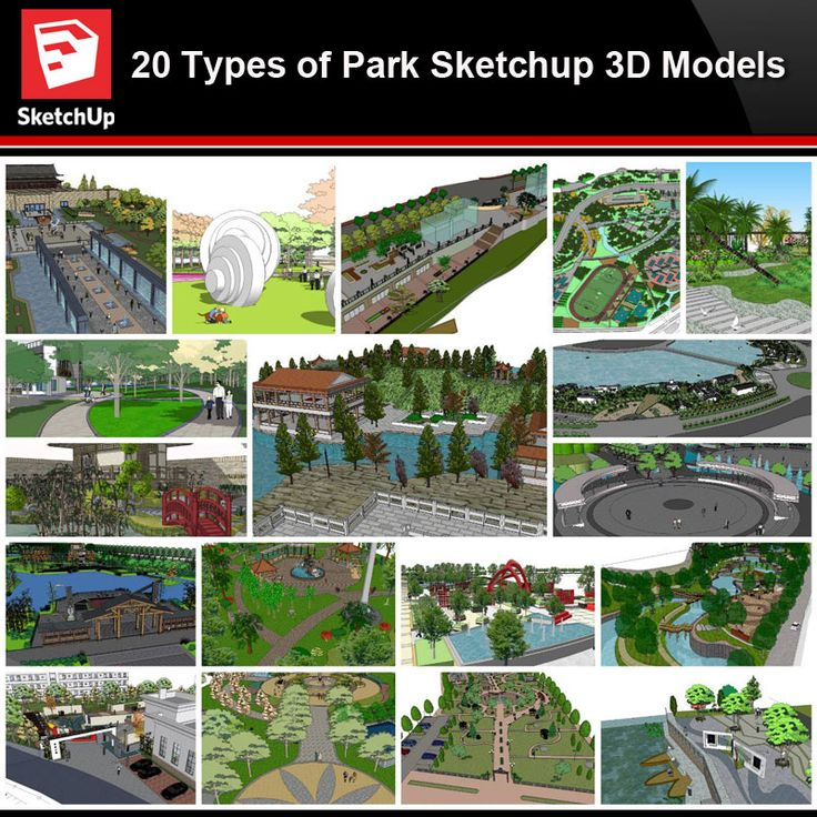 Sketchup Architecture 3D Projects】20 Types of Park ...