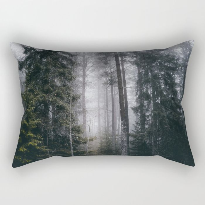 Into the forest we go Rectangular Pillow by HappyMelvin. #nature #forest #wanderlust #mystic #fog #homedecor #pillows