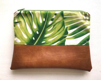 9 x 7  Groene Palm  Faux leder koppeling make-up tas door 38thandCo