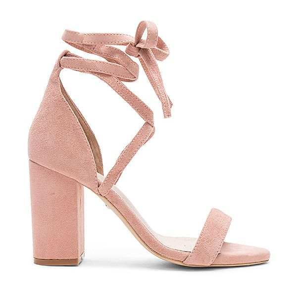 RAYE x REVOLVE Layla Heel found on Polyvore featuring shoes, heels, sandals, ankle strap pumps, suede pumps, ankle wrap pumps, ankle wrap shoes and leather sole shoes