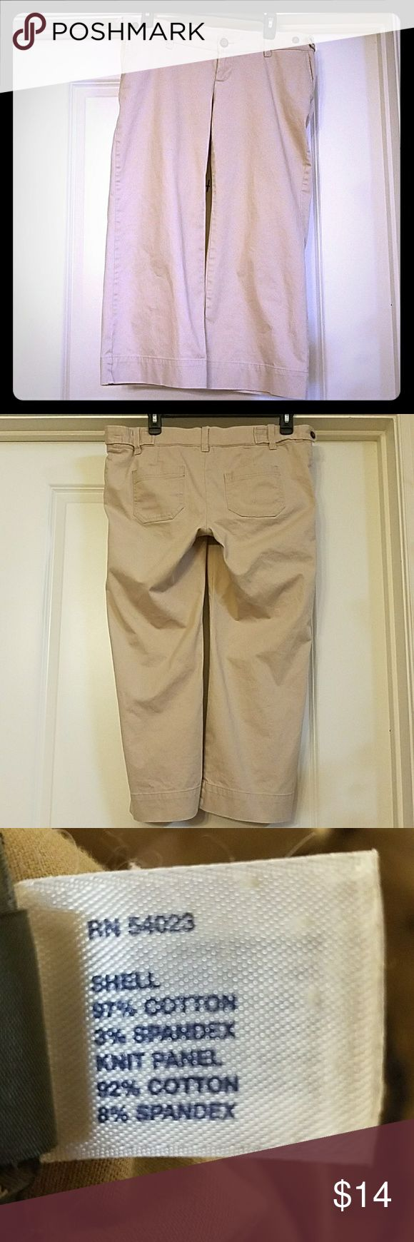 Gap Maternity Back Panel Stretch Khaki Capri Pants Gap Maternity Back Panel Stretch Khaki Capri Pants features two front pockets and two back pockets.Laying flat the waist measures 16 inches across with an elastic back panel. The inseam is 24 inches GAP Pants Capris