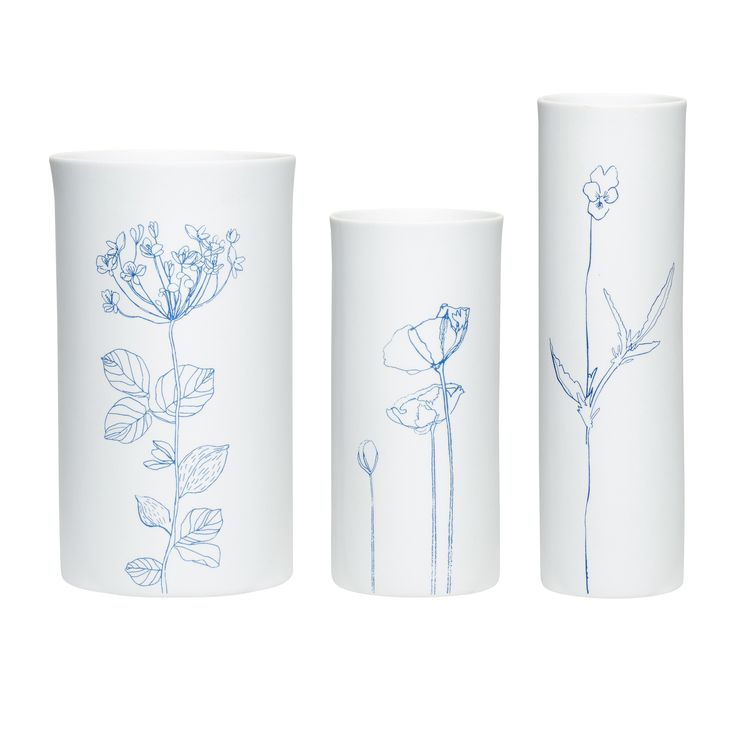 White and blue porcelain vase with pattern in a set of 3. Product number: 420317 - Designed by Hübsch