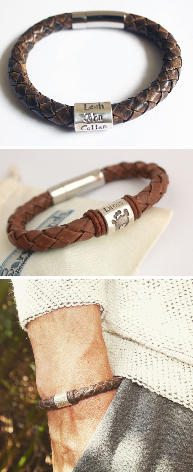 You can get handprints, footprints, names and dates on this Mens Personalised Bracelet 8mm Antique Brown Leather Bracelet and Personalised Silver Name Bead Bracelet. Mens leather bracelet. Fathers Day. Christmas gift for Dad. Handmade gifts for Him.