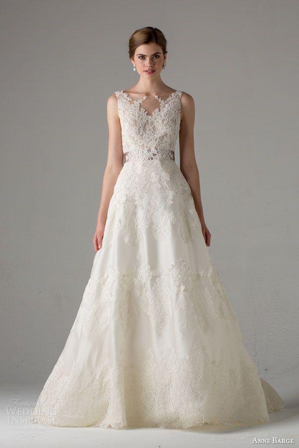 anne barge bridal fall 2015 giverny sleeveless wedding dress illusion bateau neck lace bodice